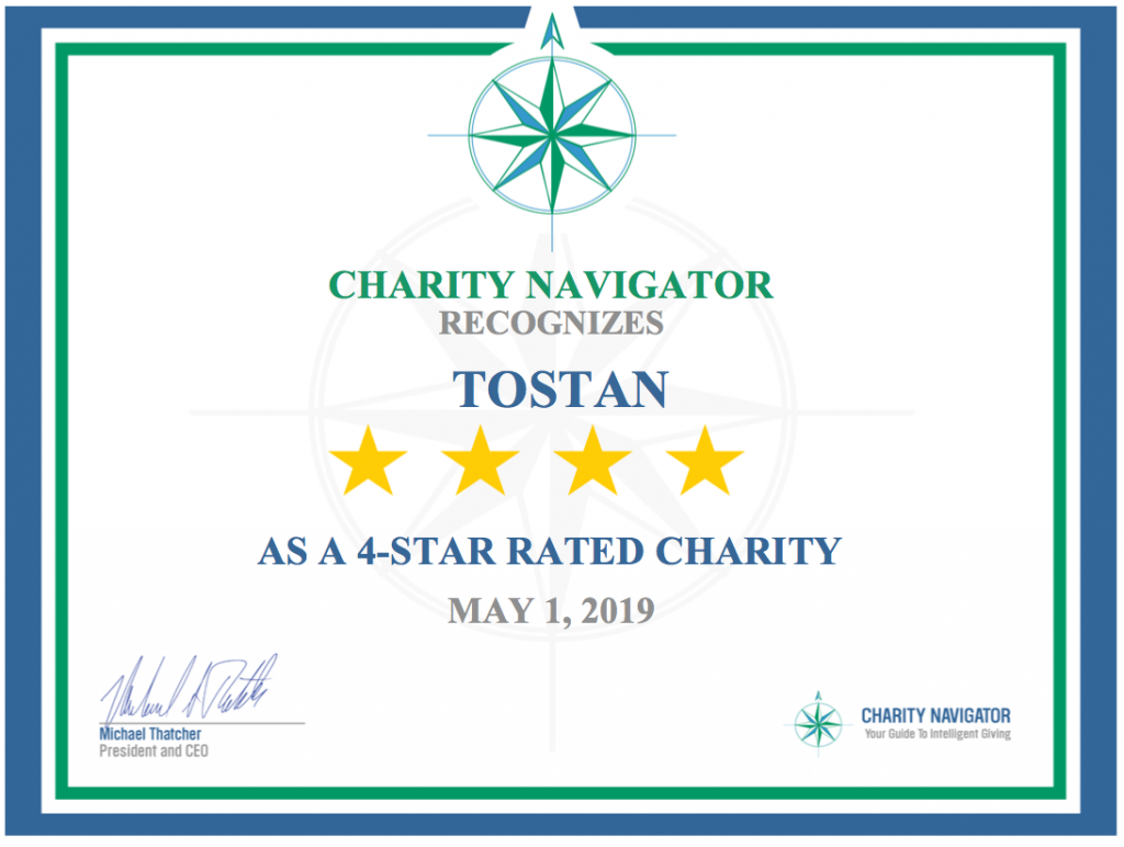 Charity Navigator, Tostan 4-star rating certificate, May 2019